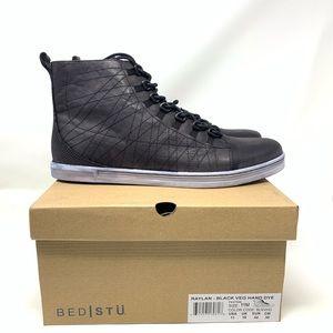 BedStu Raylan Black Hi Top Leather Sneaker